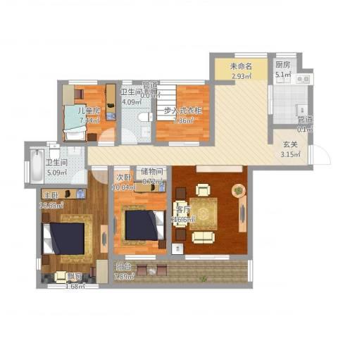 万科金色家园3室1厅2卫1厨152.00㎡户型图