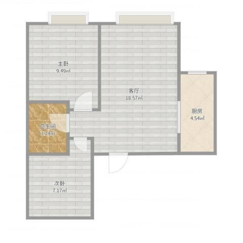 金隅悦城2室1厅1卫1厨58.00㎡户型图