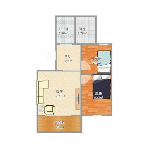鹏海西区2室2厅1卫1厨62.00㎡户型图