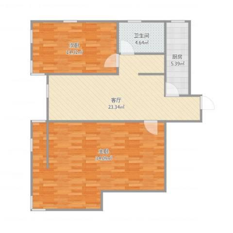 双港新家园之民盛园2室1厅1卫1厨109.00㎡户型图