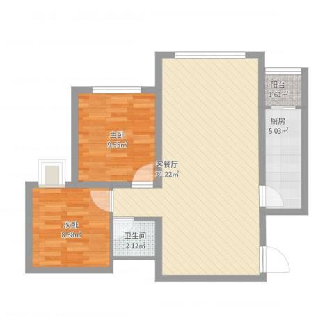 德邦广场2室1厅1卫1厨83.00㎡户型图