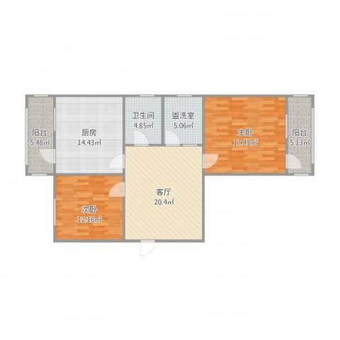 玉函小区北区2室2厅1卫1厨114.00㎡户型图