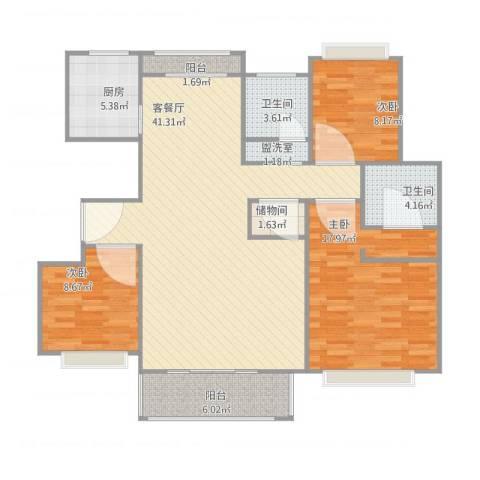 怡和花园3室2厅2卫1厨135.00㎡户型图