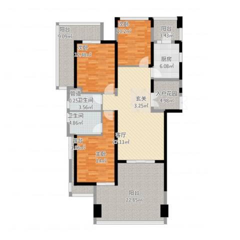 凤凰水城凤凰湾3室1厅2卫1厨176.00㎡户型图