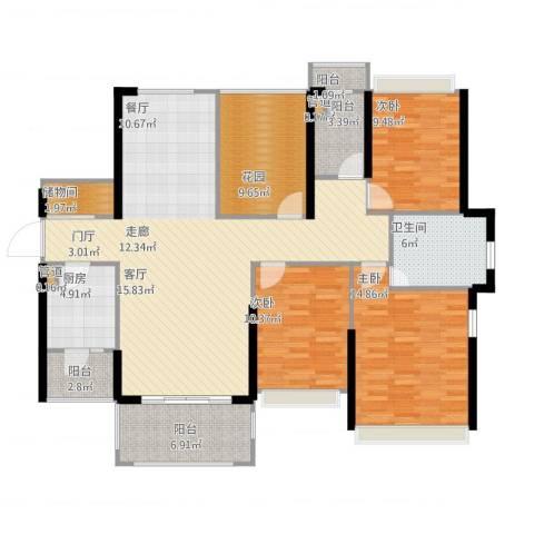 佳兆业帝景中央3室1厅1卫1厨158.00㎡户型图