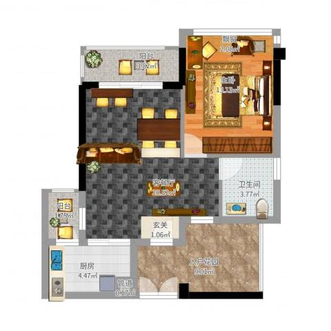 东方・比华利山庄1室1厅1卫1厨82.00㎡户型图