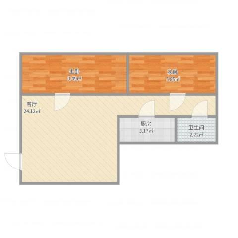 紫荆楼2室1厅1卫1厨64.00㎡户型图