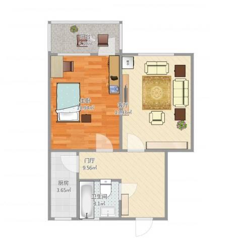 长盛小区1室1厅1卫1厨65.00㎡户型图