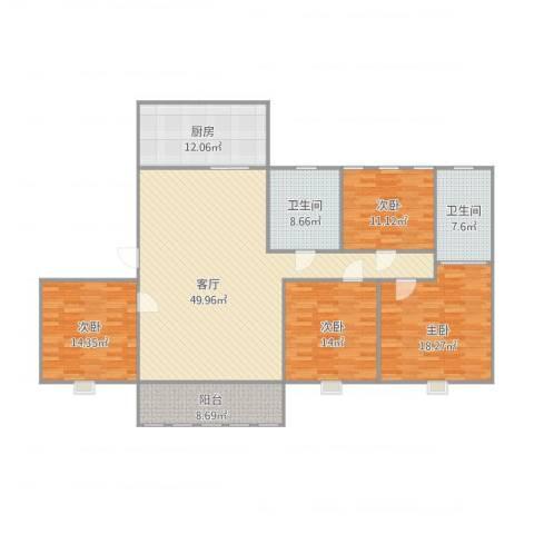 天正天御溪岸4室1厅2卫1厨192.00㎡户型图