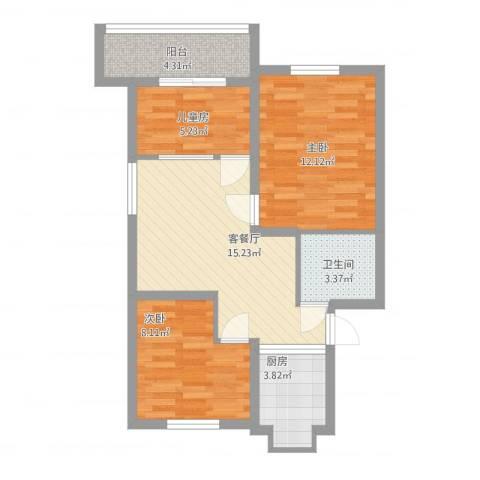 马鞍山路小区3室1厅1卫1厨76.00㎡户型图