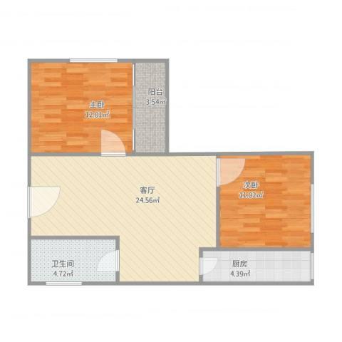东方广场2室1厅1卫1厨81.00㎡户型图