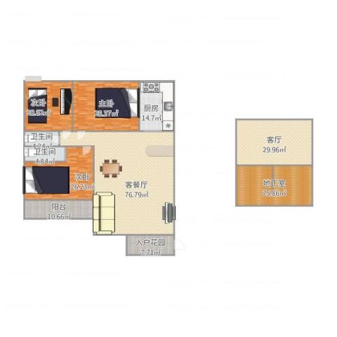 新城尚东花园3室2厅2卫1厨329.00㎡户型图