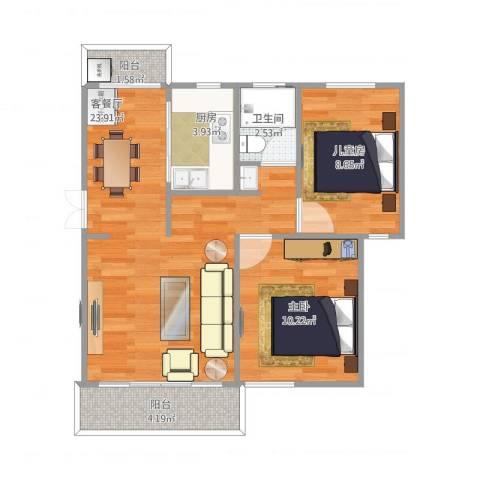 新洲花园2室1厅1卫1厨75.00㎡户型图