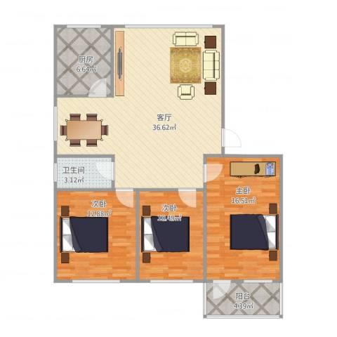 金容花园3室1厅1卫1厨121.00㎡户型图