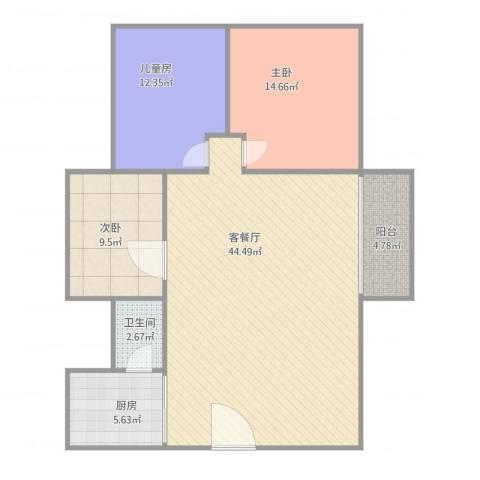 东方广场3室1厅1卫1厨125.00㎡户型图