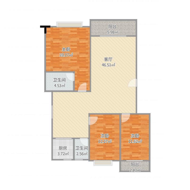 玉湖名城D2栋三室两厅两卫约149.57㎡