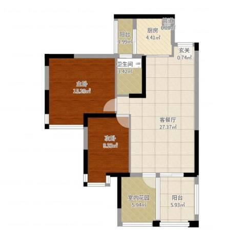 世纪城幸福公馆2室1厅3卫1厨106.00㎡户型图