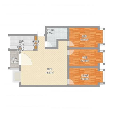 福林苑3室1厅3卫1厨156.00㎡户型图