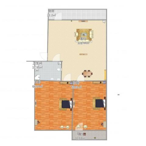 七里堡小区2室1厅1卫1厨381.00㎡户型图