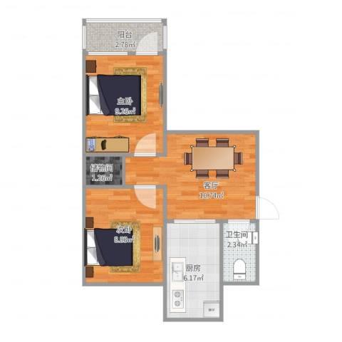 闵子骞路单位宿舍2室1厅1卫1厨57.00㎡户型图