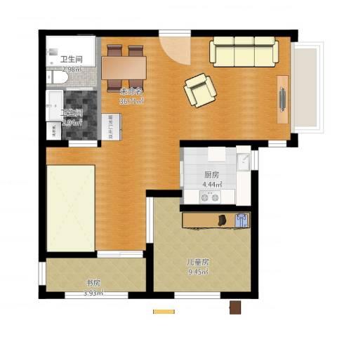 高家园新区2室1厅2卫1厨86.00㎡户型图
