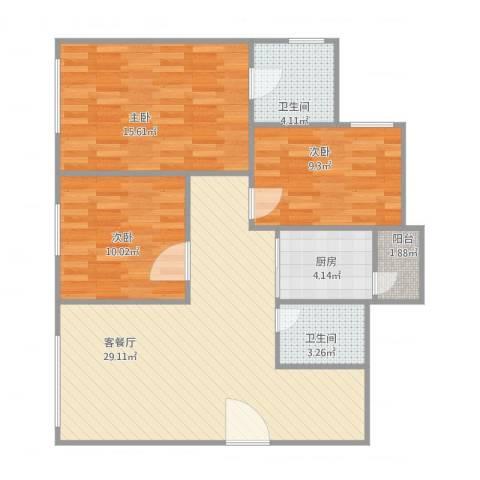 伟业楼3室1厅2卫1厨104.00㎡户型图