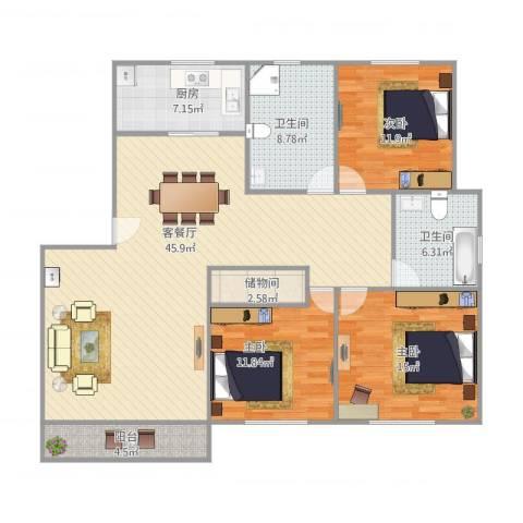 同济路1111弄3室1厅2卫1厨153.00㎡户型图