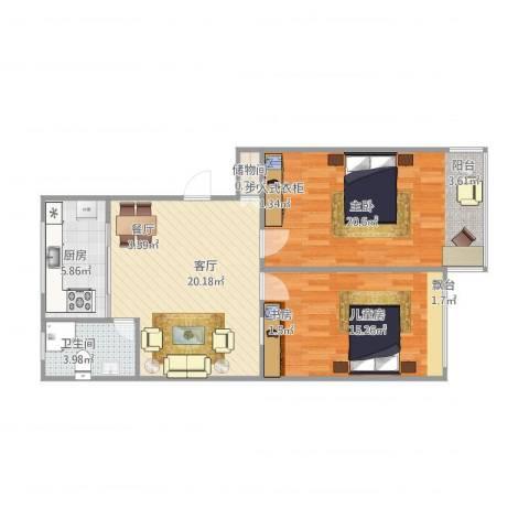 舒兰滨河小区2室1厅1卫1厨80.00㎡户型图
