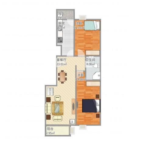 长龙家园2室1厅1卫1厨87.00㎡户型图