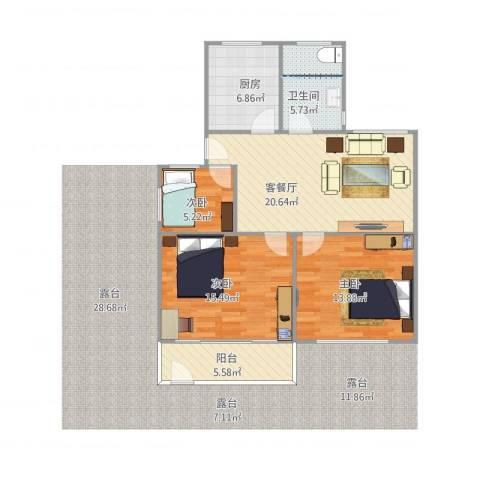 岭兜二里3室1厅1卫1厨99.00㎡户型图