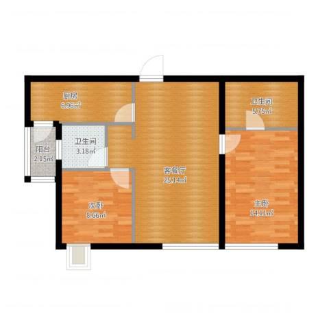 万象上东2室1厅2卫1厨93.00㎡户型图