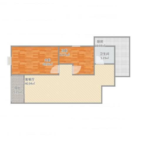 新兴名园2室1厅1卫1厨128.00㎡户型图