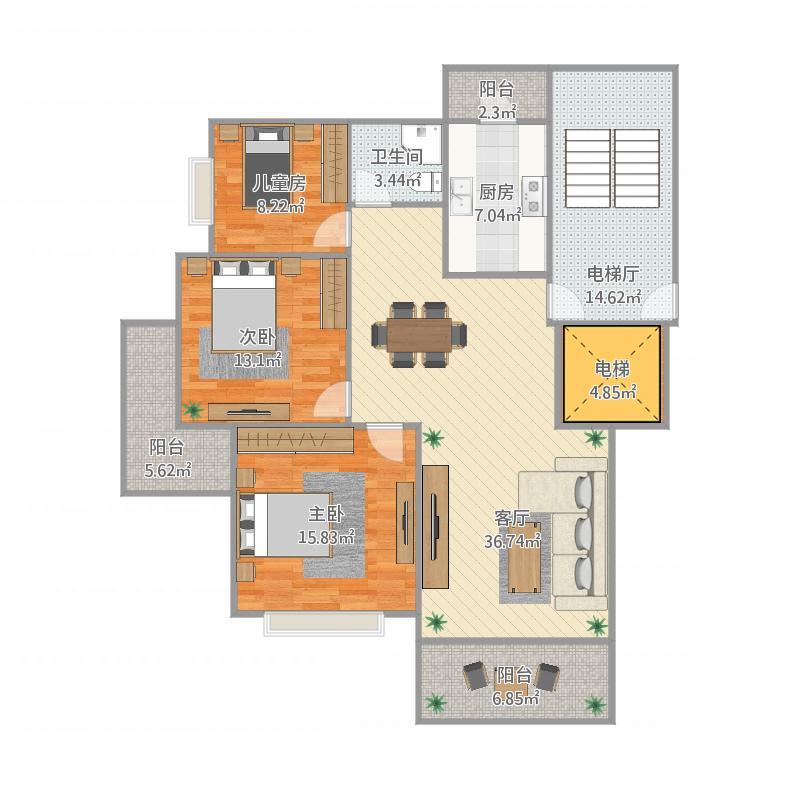 DA-1户型三室两厅