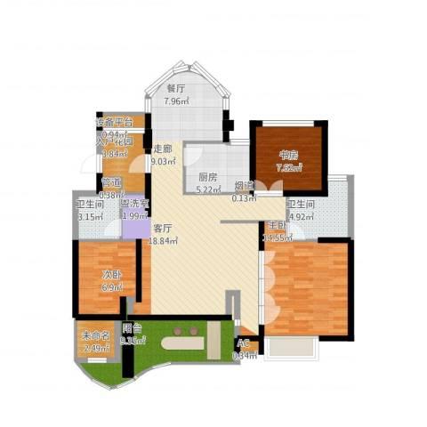 瓯北国际华城3室1厅6卫1厨144.00㎡户型图