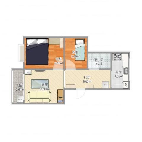 金龙公寓2室1厅1卫1厨57.00㎡户型图