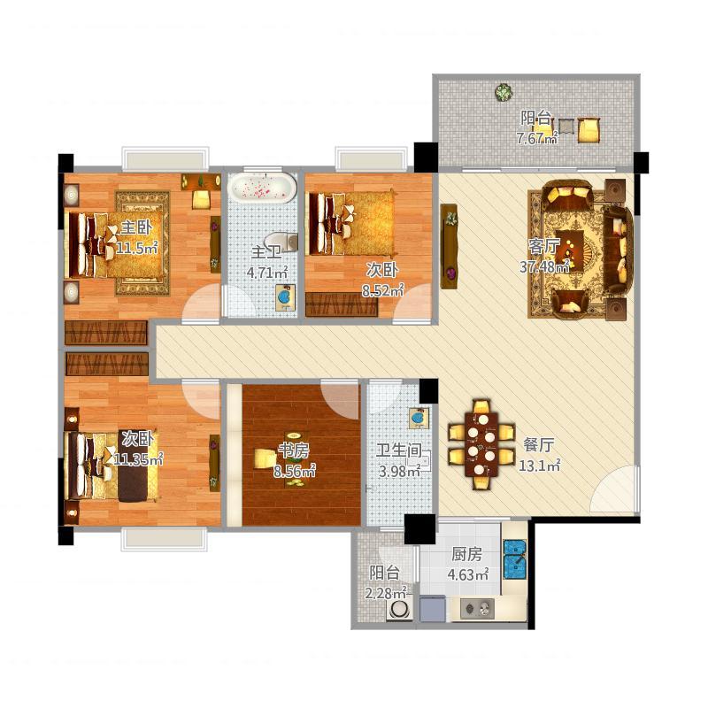 B户型 三房两厅两卫(3+1房) 面积:115-118平米