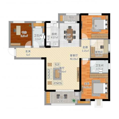 中海琴台华府3室1厅2卫1厨145.00㎡户型图