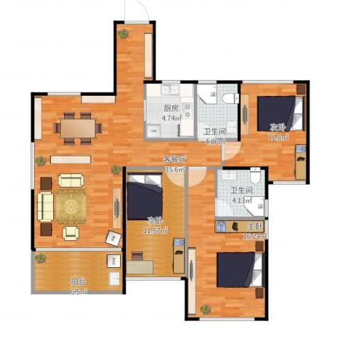 城南尚品3室1厅2卫1厨127.00㎡户型图