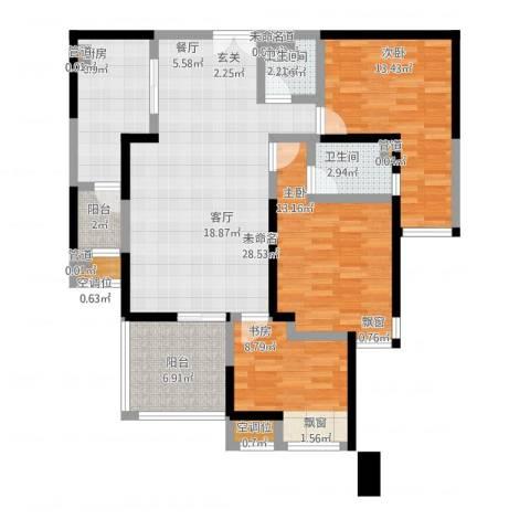 常州红星国际广场3室1厅2卫1厨128.00㎡户型图