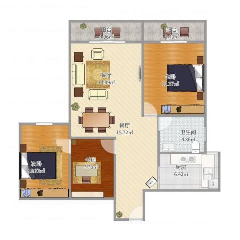 筼筜书院3室1厅1卫1厨110.00㎡户型图