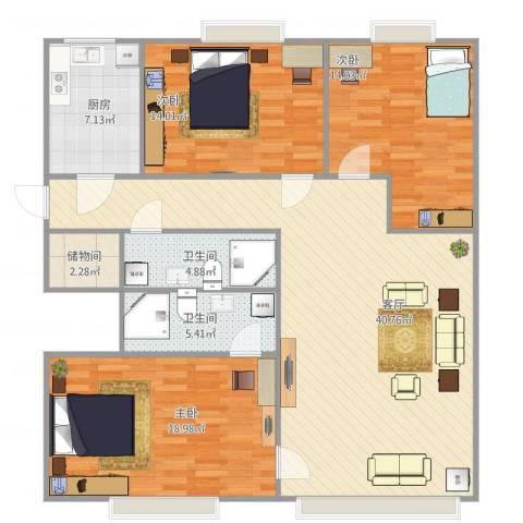 西罗园南里-京品3室1厅2卫1厨144.00㎡户型图