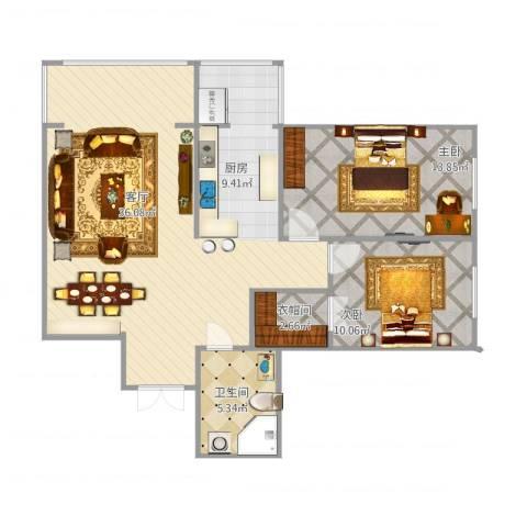 宣西小区2室1厅1卫1厨104.00㎡户型图