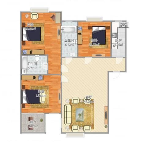 西罗园南里-京品3室1厅2卫1厨162.00㎡户型图