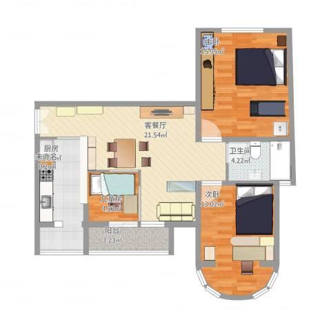 三环新城两居改三居3室1厅2卫1厨100.00㎡户型图