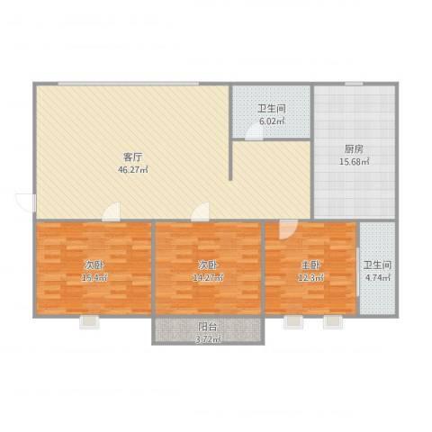 外港新村3室1厅2卫1厨158.00㎡户型图