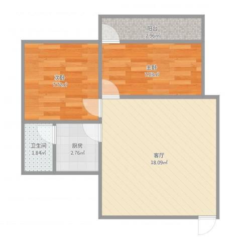 莺岗街小区2室1厅1卫1厨55.00㎡户型图