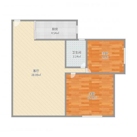 锦绣二村2室1厅1卫1厨75.00㎡户型图