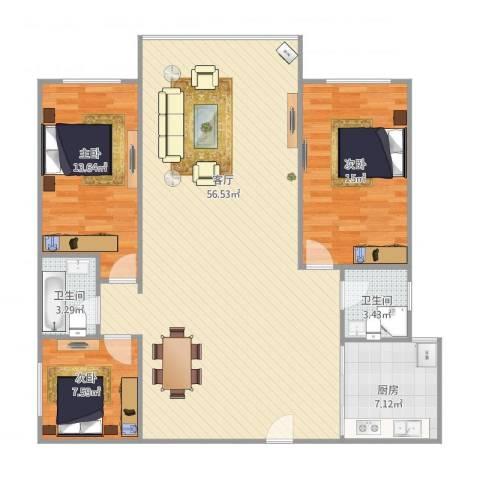 新威花园15013室1厅2卫1厨141.00㎡户型图