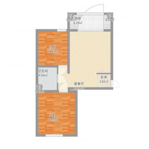 万盛凯二期2室1厅1卫1厨97.00㎡户型图