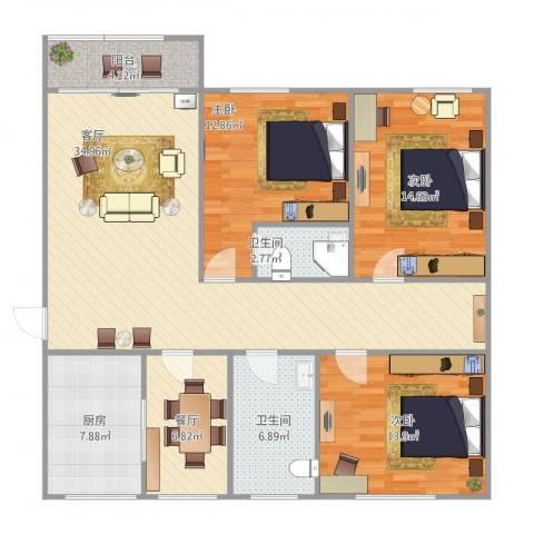 梅花山庄3室2厅2卫1厨141.00㎡户型图